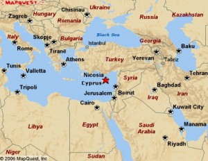 Map of Cyprus, Israel, Turkey and surrounding countries