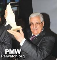 "Abbas holding the ""future"" State of Palestine."